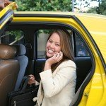 Business Woman In Taxi