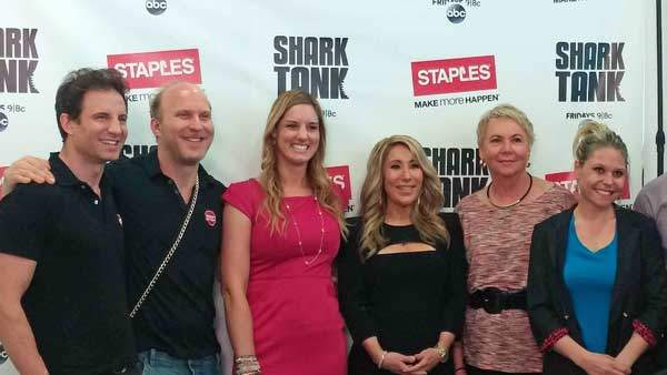 Lori Greiner with some of her 'family' of entrepreneurs including Drop Stop, PurseCase, Squatty Potty and Bantam Bagels