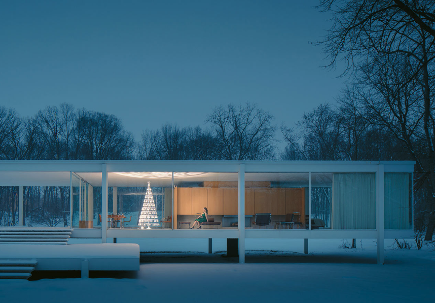 seasonal business Modern Christmas Tree in wintry home